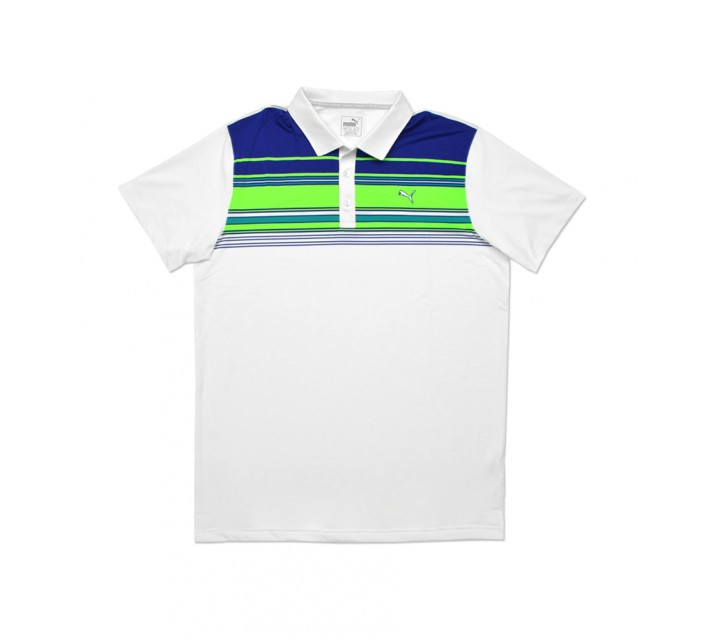 PUMA JUNIOR BOYS KEY STRIPE POLO BRIGHT WHITE - SS16