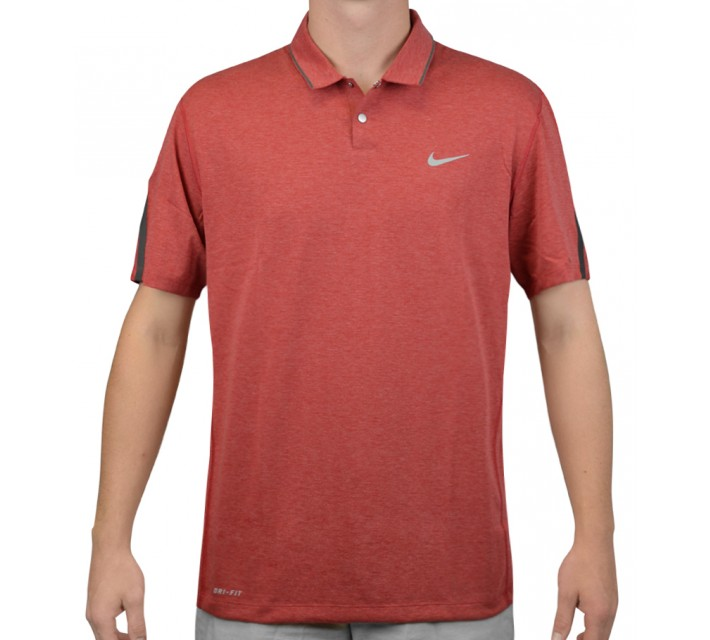 TIGER WOODS KIMONO HEATHER MESH POLO GYM RED - AW15 CLOSEOUT