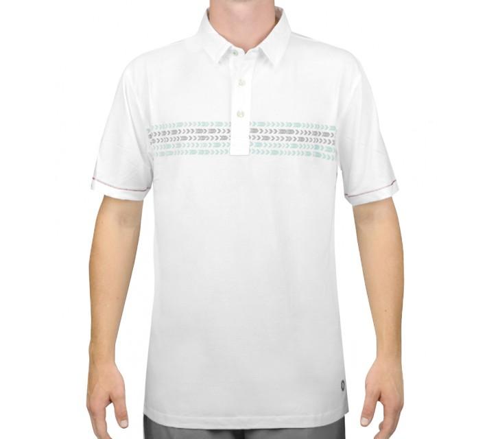 LINKSOUL HERRINGBONE STRIPE POLO WHITE - AW15
