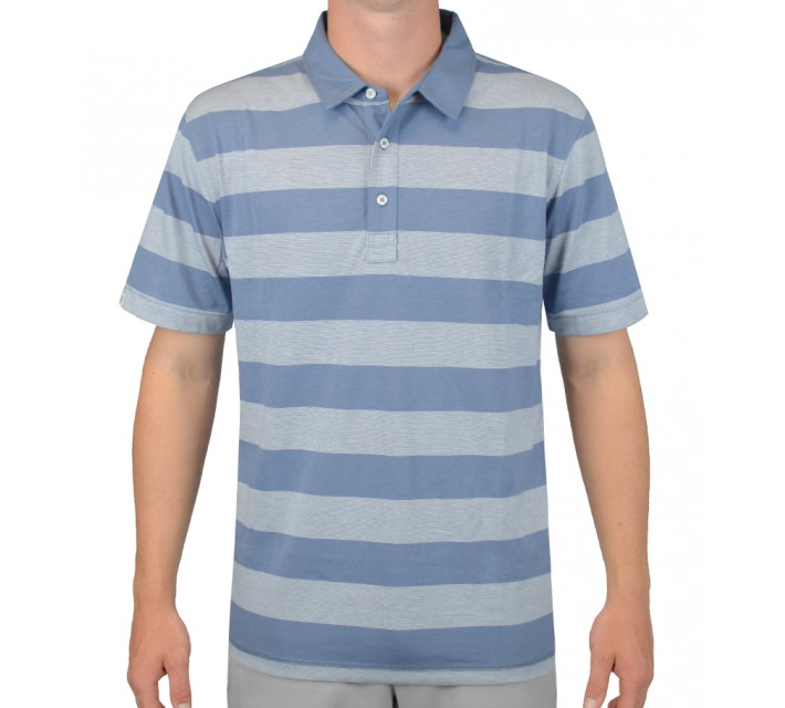 LINKSOUL INNOSOFT COTTON JERSEY YD STRIPE POLO SLATE - AW15