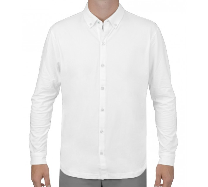 LINKSOUL DRY-TECH STRETCH LS BUTTON DOWN SHIRT WHITE - SS16