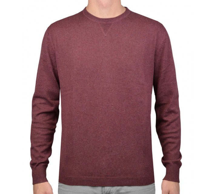 LINKSOUL COTTON/CASHMERE CREW NECK SWEATER BRICK HEATHER - AW15