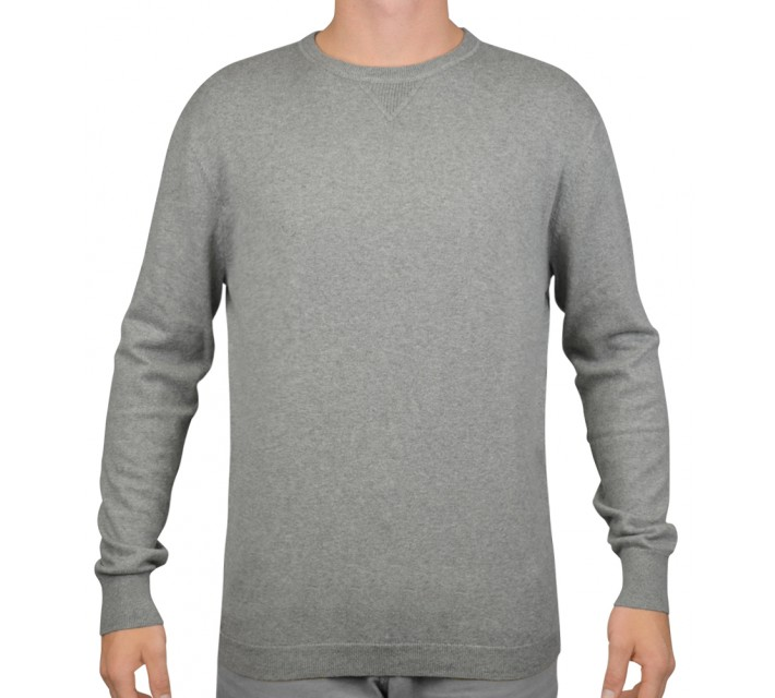 LINKSOUL COTTON/CASHMERE CREW NECK SWEATER GREY HEATHER - AW15