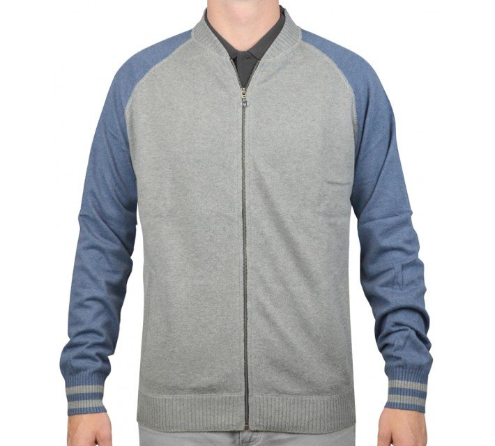 LINKSOUL COTTON/CASHMERE FULL ZIP JACKET GREY HEATHER - AW15