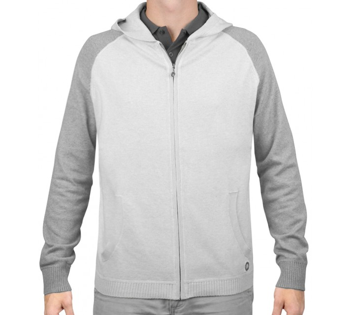 LINKSOUL COTTON/CASHMERE HOODIE CHALK HEATHER - AW15