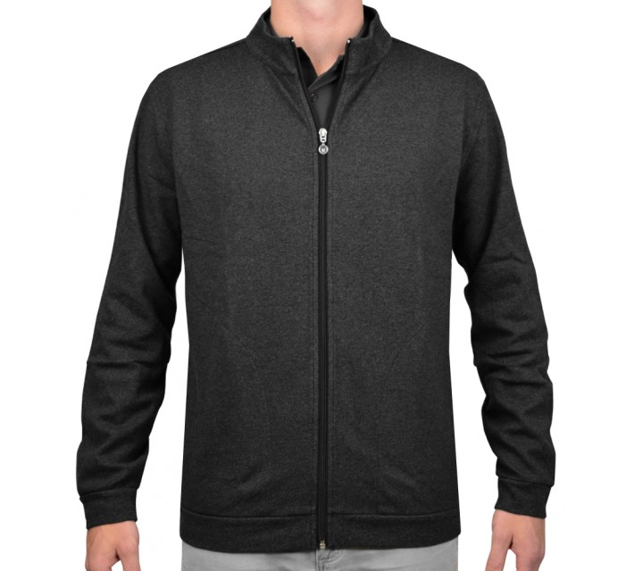 LINKSOUL FULL ZIP COTTON INTERLOCK BLACK HEATHER - SS16