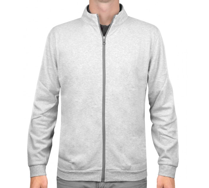 LINKSOUL FULL ZIP COTTON INTERLOCK CHALK HEATHER - SS16