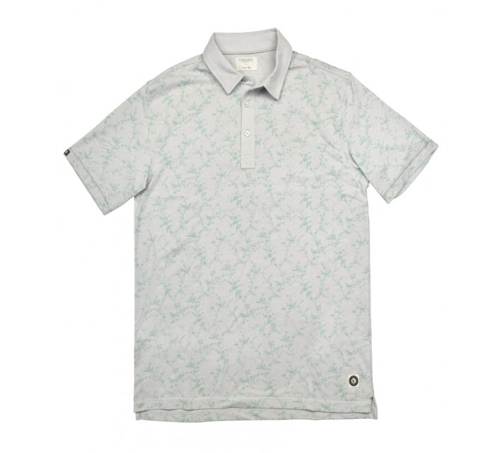LINKSOUL COTTON PRINT POLO CHALK HEATHER - SS16