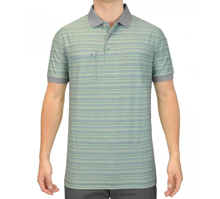 LINKSOUL INNOSOFT COTTON MICRO MULTI YD STRIPE POLO ALOE - SS15