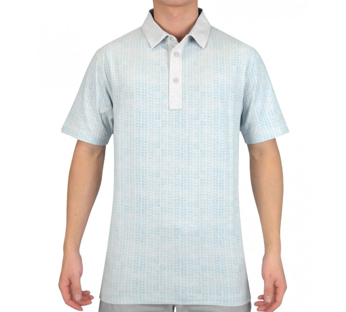 LINKSOUL COTTON BLEND PRINT POLO AQUA - SS15