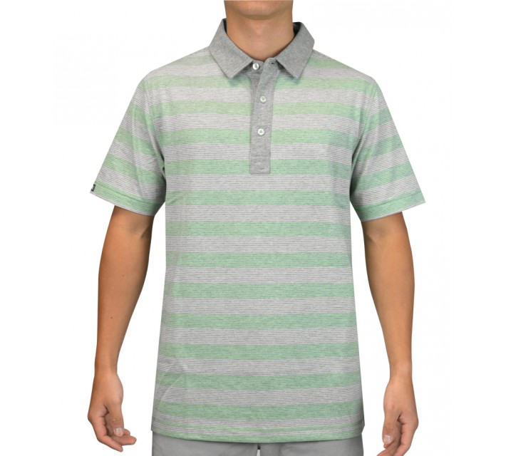 LINKSOUL INNOSOFT COTTON JERSEY YD STRIPE INSIDE OUT POLO ALOE - SS15