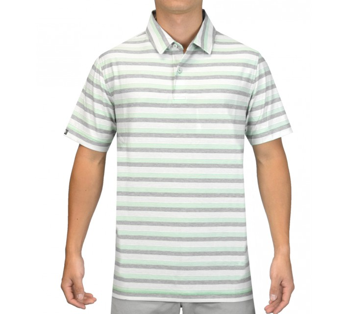 LINKSOUL INNOSOFT COTTON JERSEY YD STRIPE POLO ALOE - SS15