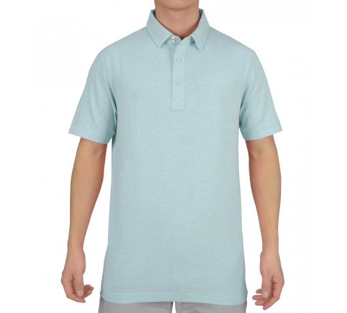 LINKSOUL COTTON BLEND STRETCH POLO AQUA HEATHER - SS15