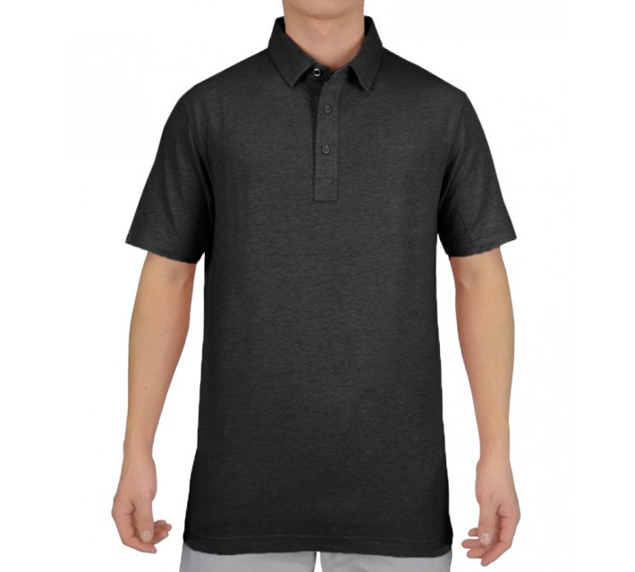 LINKSOUL COTTON BLEND STRETCH POLO BLACK HEATHER - SS15