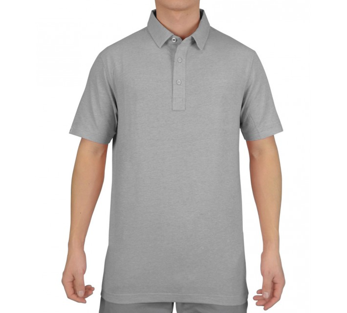 LINKSOUL COTTON BLEND STRETCH POLO DK GREY HEATHER - SS15