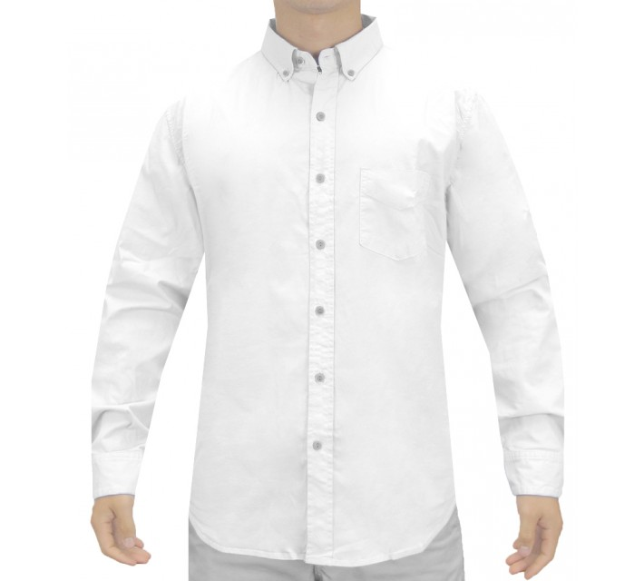 LINKSOUL COTTON STRETCH WOVEN SHIRT WHITE - SS15