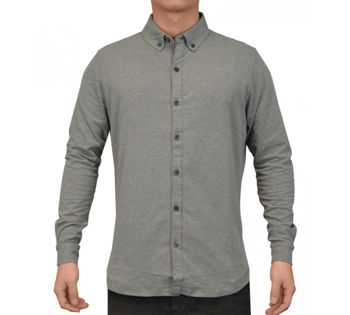 LINKSOUL COTTON STRETCH BUTTON DOWN SHIRT DARK GREY HEATHER - SS16