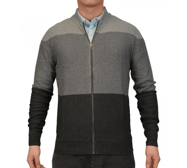 LINKSOUL COTTON/CASHMERE FULL ZIP SWEATER GREY HEATHER - SS15