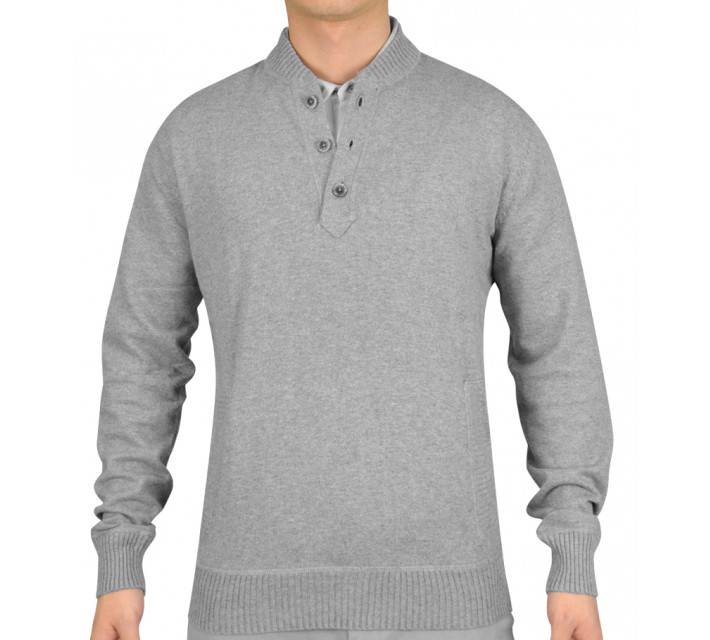 LINKSOUL COTTON/CASHMERE BUTTON-UP SWEATER GREY HEATHER - SS15