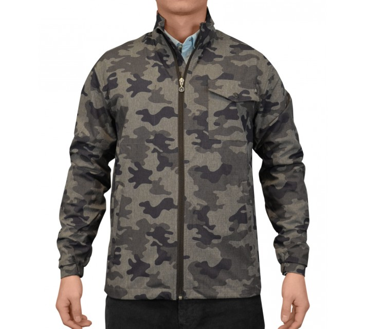 LINKSOUL 4 WAY STRETCH LINEN TEXTURE JACKET OLIVE CAMO - AW15