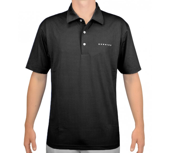 DUNNING STRETCH LUXE STRIPE JERSEY POLO BLACK - AW15