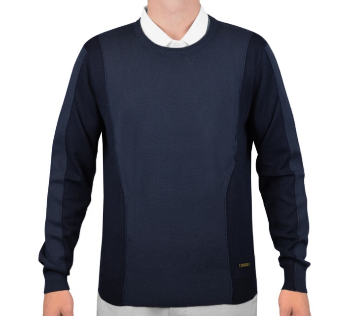 J. LINDEBERG MARCEL TECH WOOL SWEATER NAVY/PURPLE - AW15