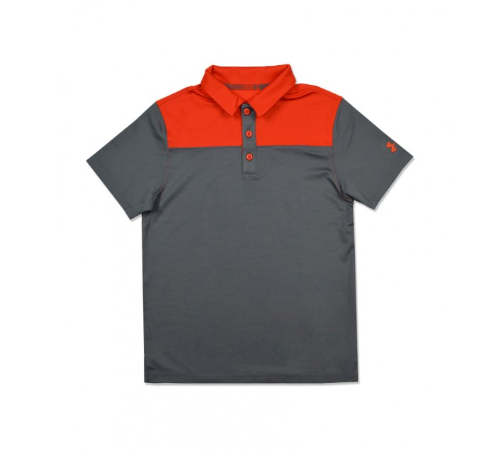 UNDER ARMOUR JUNIOR BOYS MATCH PLAY BLOCKED POLO GRAPHITE/DARK ORANGE - AW16