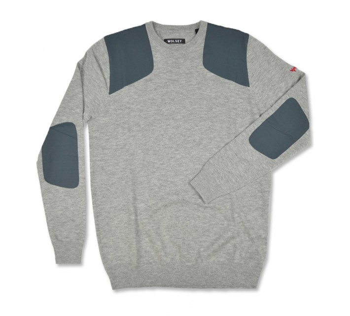 WOLSEY MENTON CREW NECK SWEATER GREY MARL - SS16