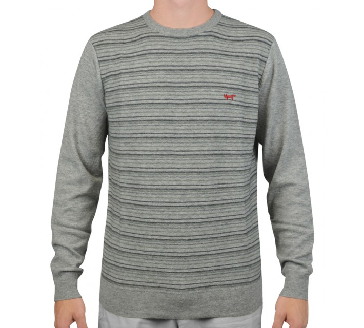 WOLSEY MERINO STRIPE CREW NECK SWEATER GREY MELANGE - AW15