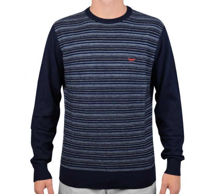 WOLSEY MERINO STRIPE CREW NECK SWEATER TOTAL ECLIPSE - AW15