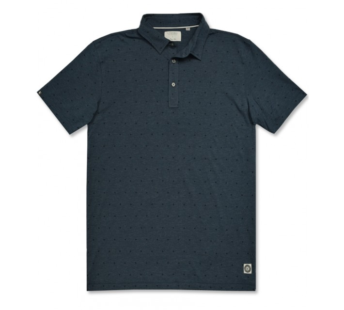 LINKSOUL TONAL MICRO PRINT POLO INK HEATHER - AW16