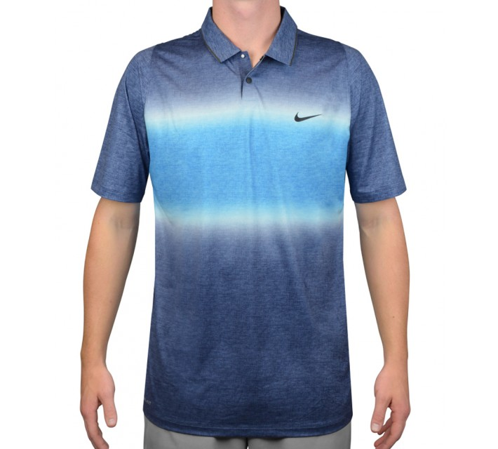 TIGER WOODS VELOCITY GLOW STRIPE POLO MIDNIGHT NAVY/PHOTO BLUE - AW15 CLOSEOUT