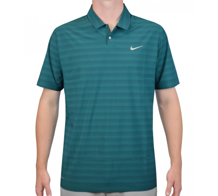 TIGER WOODS MOBILITY WOVEN STRIPE POLO RADIANT EMERALD/REFLECTIVE SILVER - AW15 CLOSEOUT