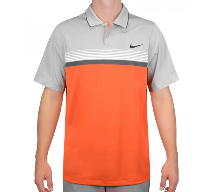 NIKE MOMENTUM STRIPE POLO ELECTRO ORANGE/WOLF GREY - AW15 CLOSEOUT