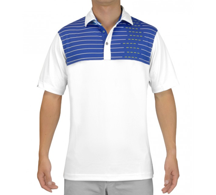 HOLLAS MORDUN GOLF SHIRT WHITE/ROYAL BLUE - SS15