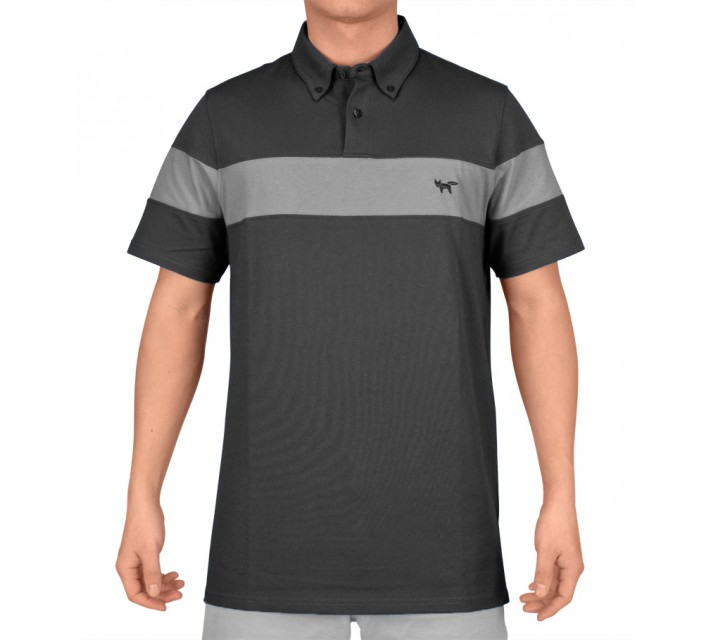 WOLSEY FABRIC MIX CHEST STRIPE POLO BLACK - SS15