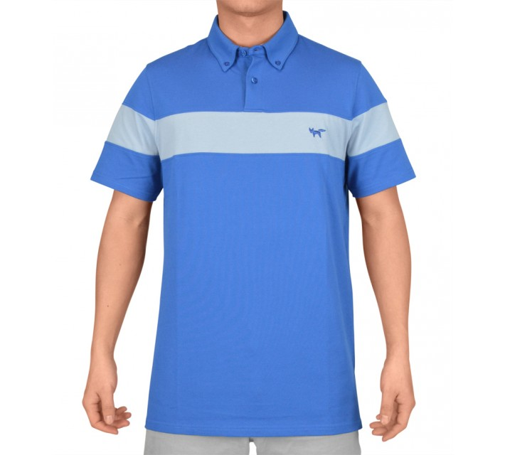 WOLSEY FABRIC MIX CHEST STRIPE POLO OLYMPIAN BLUE - SS15