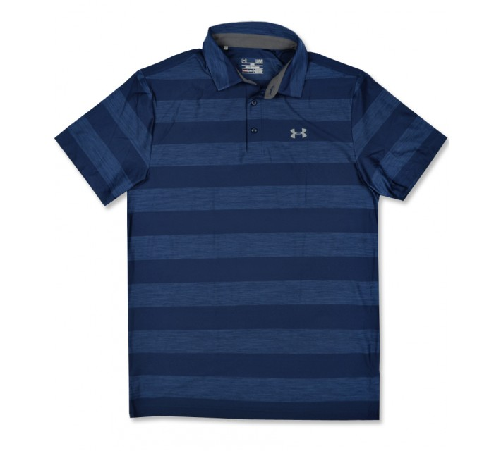 UNDER ARMOUR PLAYOFF TONAL STRIPE POLO BLACKOUT NAVY - SS16