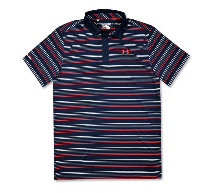 UNDER ARMOUR COLDBLACK OMBRE STRIPE POLO BLACKOUT NAVY - SS16