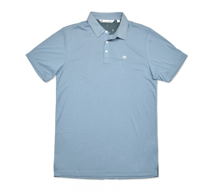 TRAVISMATHEW OUTBOARD GOLF SHIRT HEATHER PROVINCIAL BLUE - SS16