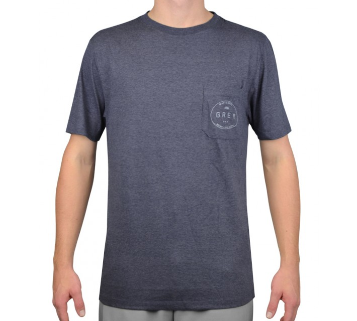MATTE GREY PASSPORT FRONT T- SHIRT NAVY HEATHER - AW15
