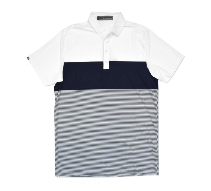 MATTE GREY PENNETT GOLF POLO WHITE/NAVY - SS16