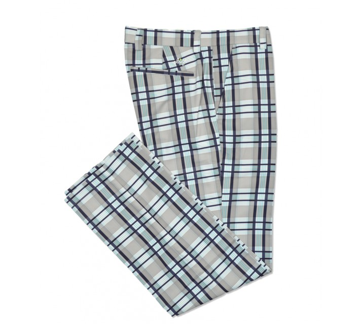 SLIGO PATTERN GOLF PANTS IRIDIUM PLAID - SS16