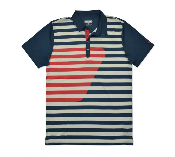 WOLSEY DECK PRINTED STRIPE POLO THUNDER - SS16
