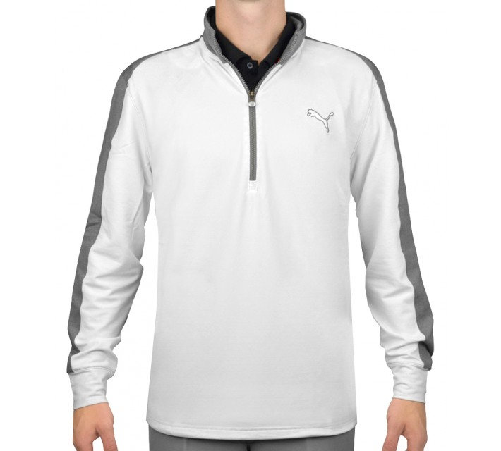 PUMA PWR WARM 1/4 ZIP POPOVER WHITE/MEDIUM GRAY HEATHER - SS16