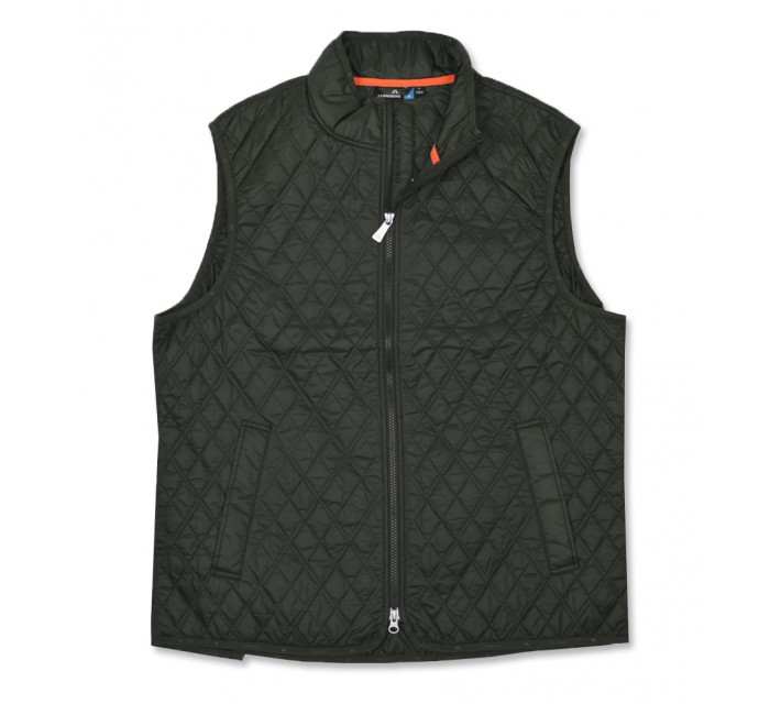 J. LINDEBERG QUILTED CLUB VEST DARK GREEN - AW16