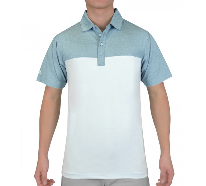 MATTE GREY REGIMENT GOLF POLO OCEAN HEATHER - SS15