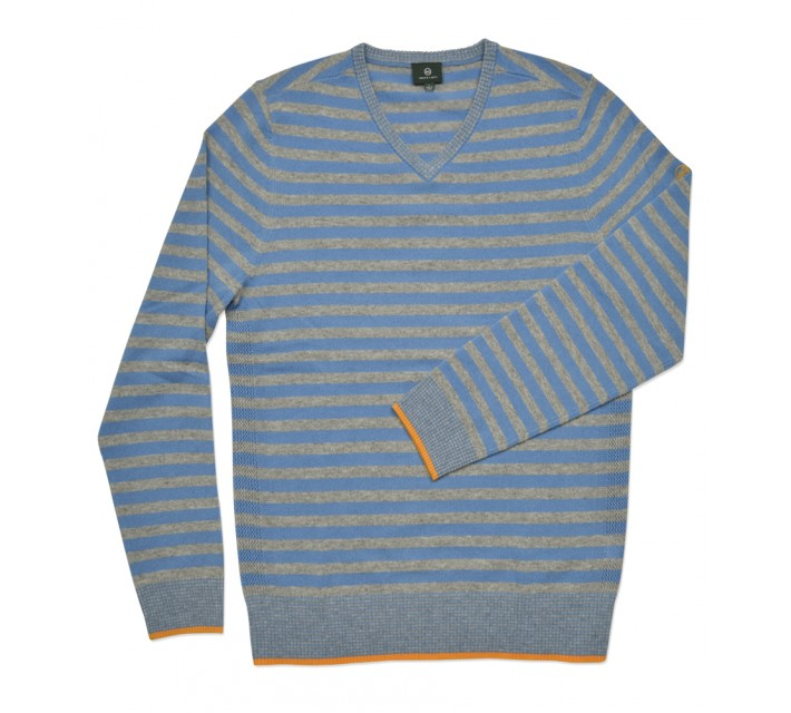 AG GREEN LABEL THE RENTON V-NECK SWEATER PARISIAN BLUE/QUIET GREY - SS16