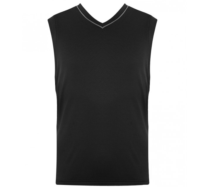 HOLLAS RIB KNIT V-NECK VEST BLACK - SS15