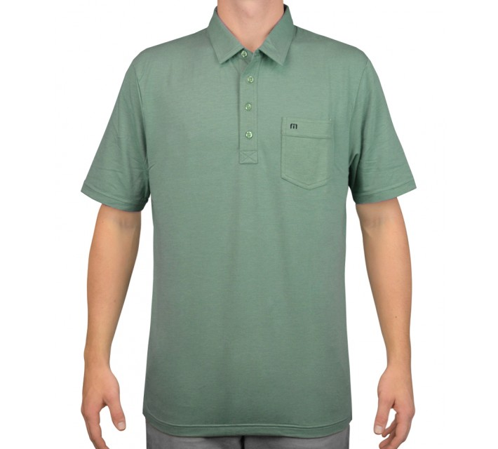 TRAVISMATHEW GOLF SHIRT RINCON HEATHER GREEN SPRUCE - AW15